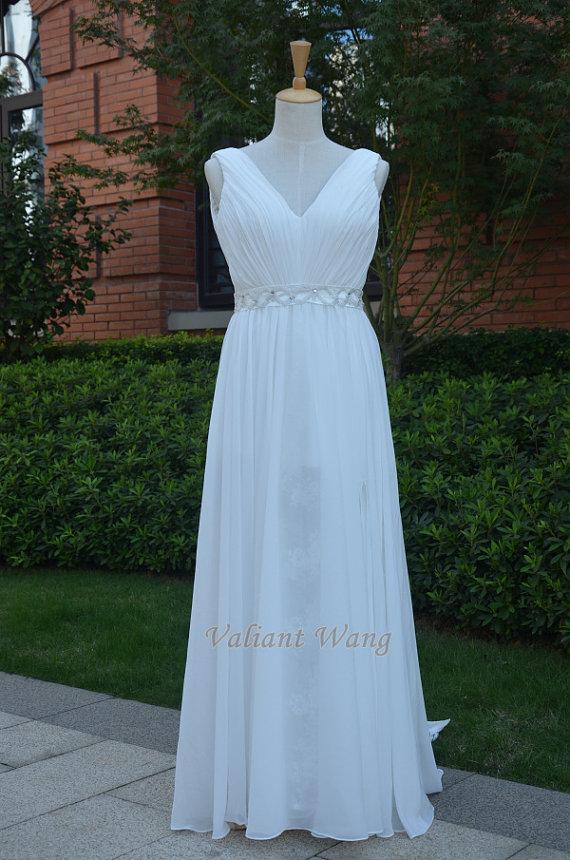 زفاف - Ivory Vneck Chiffon Lace Wedding Dress Wedding Gown Beaded Belt With Split