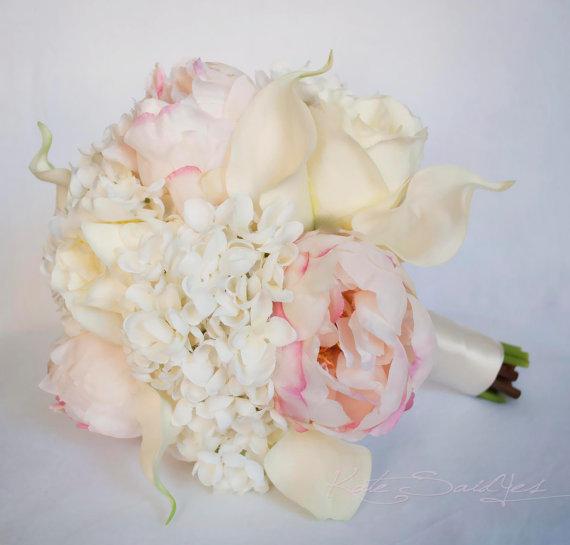 Ivory And Blush Wedding Bouquet - Peony Hydrangea Rose And Calla ...