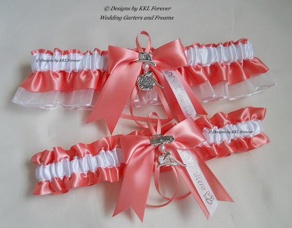 Свадьба - Firefighter Wedding Garters Maltese Cross Charm Handmade Coral Garters