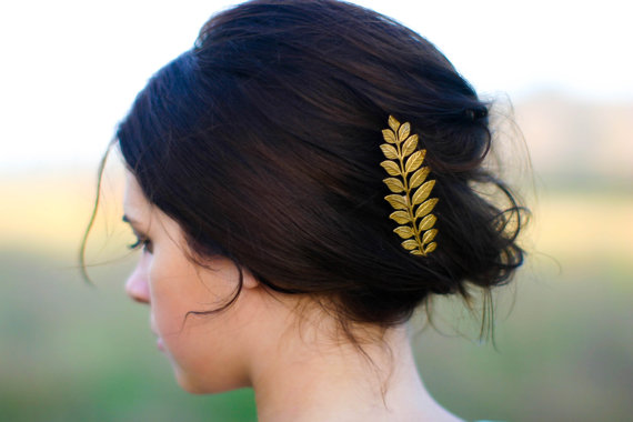 Mariage - Luxe Long Gold Laurel Leaf Hair Pin Bobby Pin Hair Clip Barrette Woodland Boho