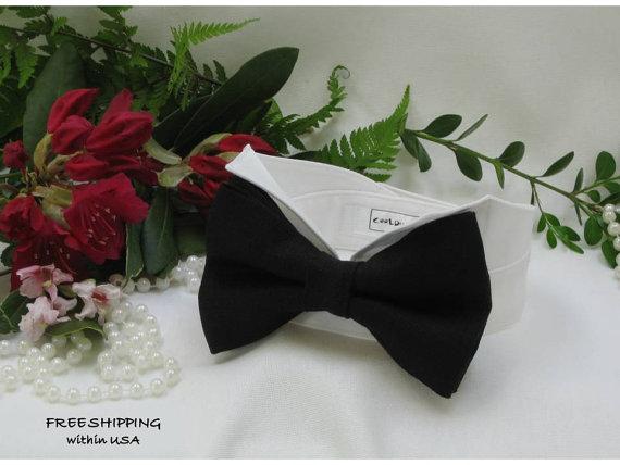 زفاف - Black Linen Oversized Bow Tie Wingtip Tuxedo Dog Collar~ Custom Made~Dog Wedding Collar~Dog Ring Bearer~Free Shipping Within USA~