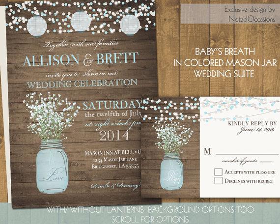 Mason Jar Wedding Invitations Suite   Rustic Country Babyu0027s Breath In Blue  Mason Jar   Country Wedding Invitations