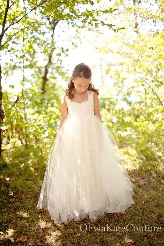 Mariage - Flower Girl Dress Floor Length 10 12 14