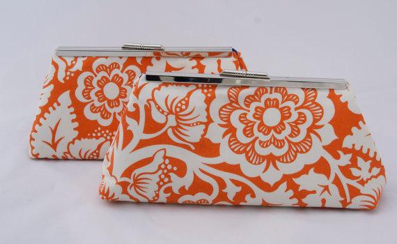 زفاف - Orange Wedding Party Gift Bridal Party Handbag Clutch Design your own for Spring Summer Wedding Gift