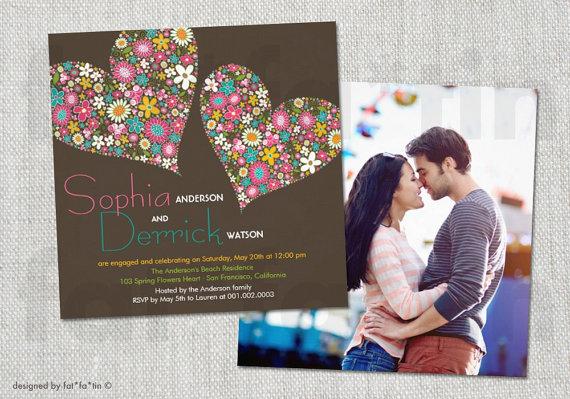 زفاف - Spring Flowers Double Hearts Engagement Shower Invitation