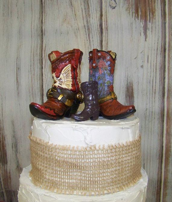 Свадьба - Reserved for Candice, Rustic Cake Topper-His and Her Western Cowboy Boots-Wedding Cake Topper-Barn Wedding