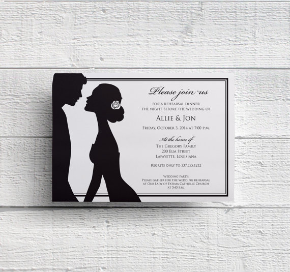 Wedding - Printable Rehearsal Dinner Invitation Digital File for Self-Print