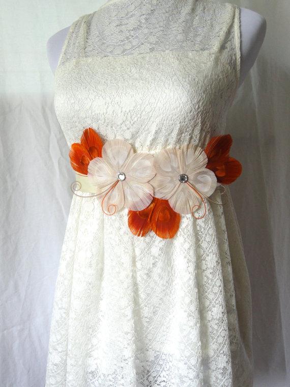 Свадьба - GWEN Fall Ivory, Orange Spice, and Beige Peacock Feather Flower Bridal Wedding Sash