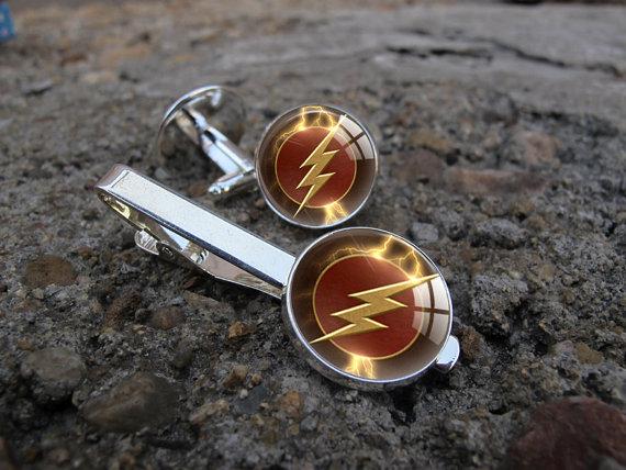 زفاف - The Flash Cuff Links, Comic The Flash Tie Clip, Super Hero Custom Men Anniversary Graduation Wedding Parents Groomsmen Party Gift Cuff Links