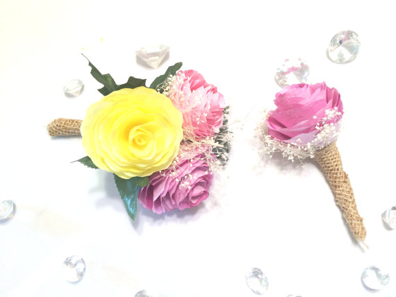 Hochzeit - Peony boutonniere and corsage, Pink, orange and yellow filter paper Groom boutonniere, Prom corsage, Prom boutonniere, Fake Flower Corsages