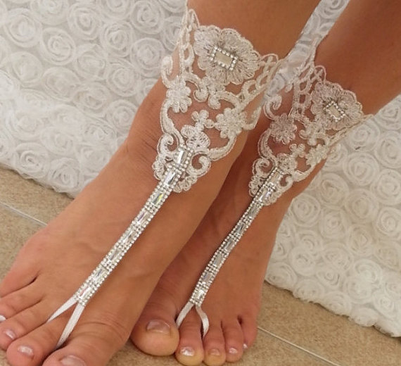 Свадьба - Rhinestone anklet, FREE SHIP Beach wedding barefoot sandals,scaly Steampunk, Beach Pool, Sexy, Yoga, Anklet , Bellydance