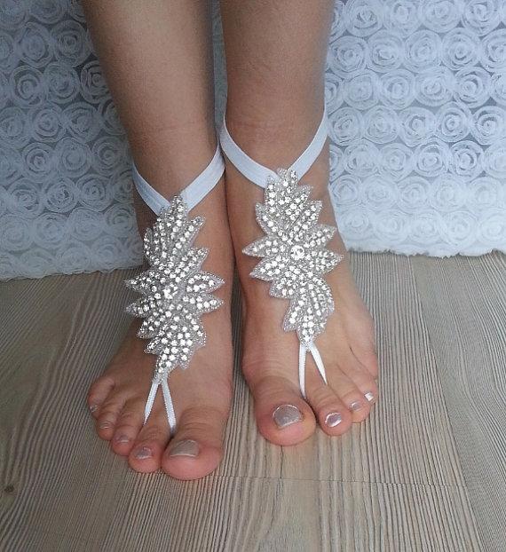Hochzeit - Rhinestone anklet, FREE SHIP Beach wedding barefoot sandals, Steampunk, Beach Pool, Sexy, Yoga, Anklet , Bellydance