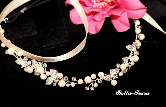 Свадьба - pearl wedding headband halo, wedding halo headpiece, crystal wedding headband, bridal ribbon headband, vine bridal headwrap