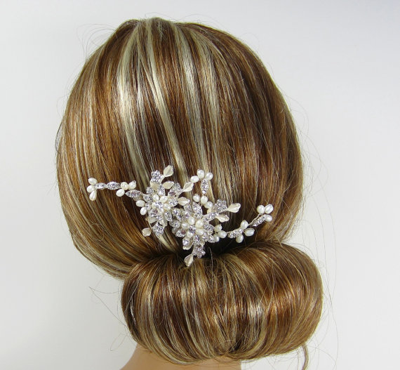 Wedding - Pearl Flower Bridal Comb,Stella Hair Comb,  Bridal hair comb, Wedding hair accessories, Bridal Headpieces, Rhinestone hair comb bridal