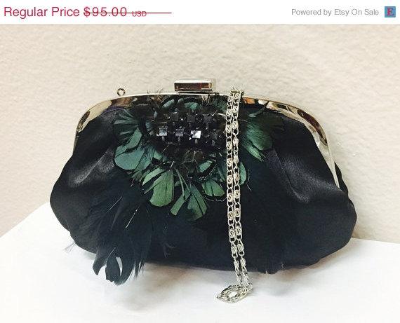 Mariage - Wedding clutch Feather Crystal Detailing, formal evening bag,  bridesmaid clutch, vintage inspired clutch