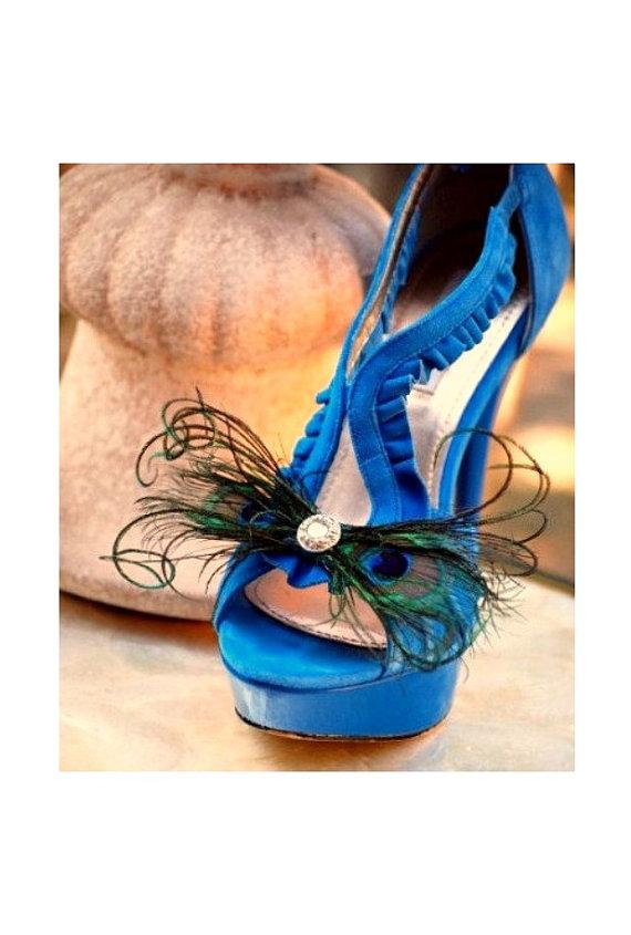 Wedding - Wedding Shoe Clips. Peacock Feathers Bow. Bride Bridal Bridesmaid, Steampunk Sophisticated, Teal Emerald Green Metallic Rhinestone or Pearl