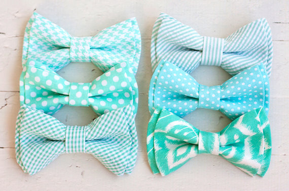 زفاف - The Beau- men's mint collection double stacked pre-tied bow ties- (adjustable strap or clip selection)