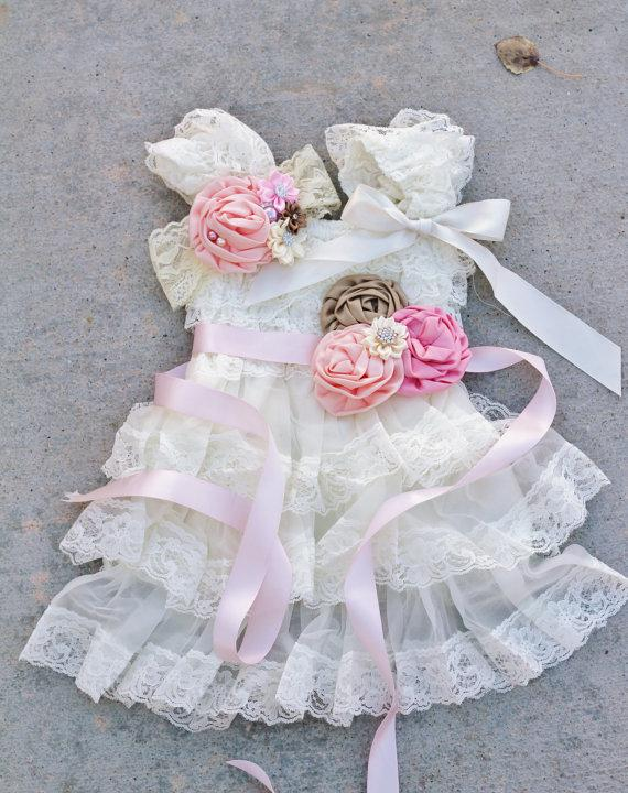 Свадьба - ivory pink tan peach dress sash headband SET,lace girl Dress,baby dress,Flower girl dress,First 1st Birthday Dress, girls photo outfit
