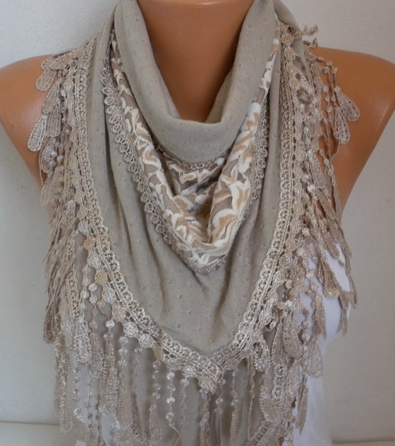 Wedding Gift Knitting Patterns : Wedding - Beige Knitted Scarf Shawl Cowl Lace Oversized Bridesmaid ...