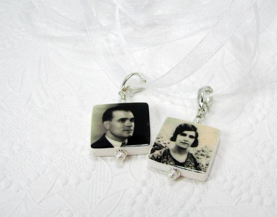 Свадьба - BC3x2 - Bridal Bouquet Charms, 2 Small Memorial Photo Pendants - Custom Wedding Jewelry