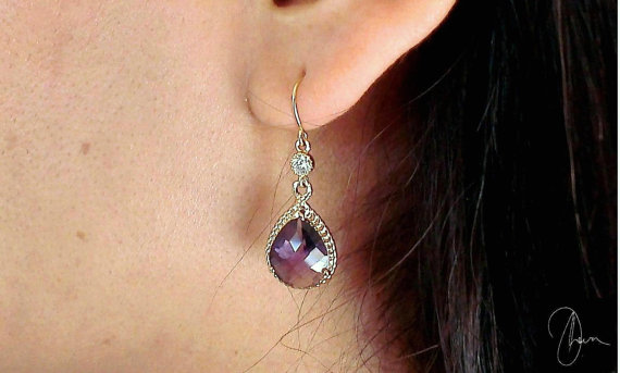 Mariage - Purple Crystal Gold Earrings - Amethyst Teardrop Dangle Gold Plated Wedding Party Jewellery - Bridesmaids Maid of Honor Gift -Christmas Gift