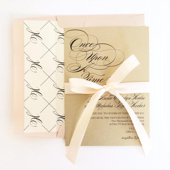 """زفاف - Blush Wedding Invitation """"FAIRYTALE"""" Champagne and Blush Pink and Gold Shimmer Wedding Invitations with Monogram Envelope Lining"""