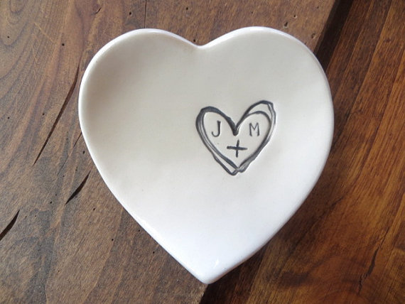 monogram ring dish engagement ring holder custom ceramic heart shaped jewelry bowl black and white pottery gift boxed - Wedding Ring Dish