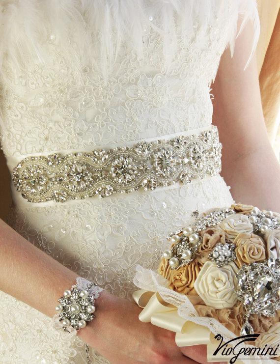 "Mariage - Bridal Sash 34"" Wedding Sash Crystal Sash Rhinestone Sash Jeweled Belt Beaded Sash"
