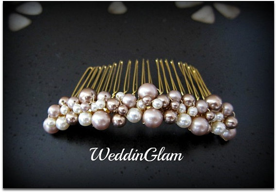 Wedding - Fall Wedding Comb, Mother of the bride gift , Wedding Hair Accessories, Swarovski Pearls Comb, Brown Champagne Mix, Elegant Hair Comb