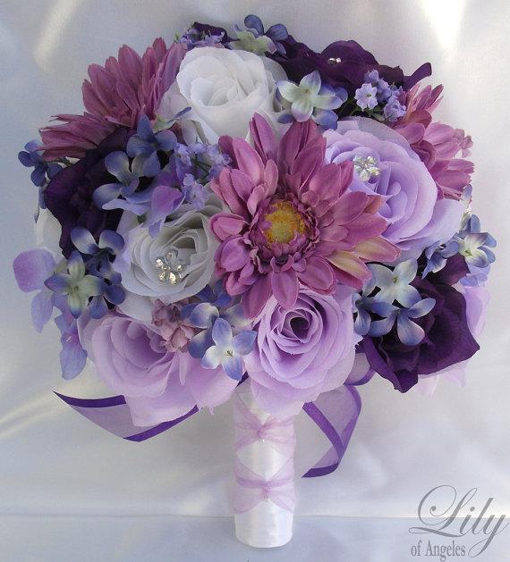 Silk Flower Wedding Bouquet Silk Wedding Arrangements Artificial ...
