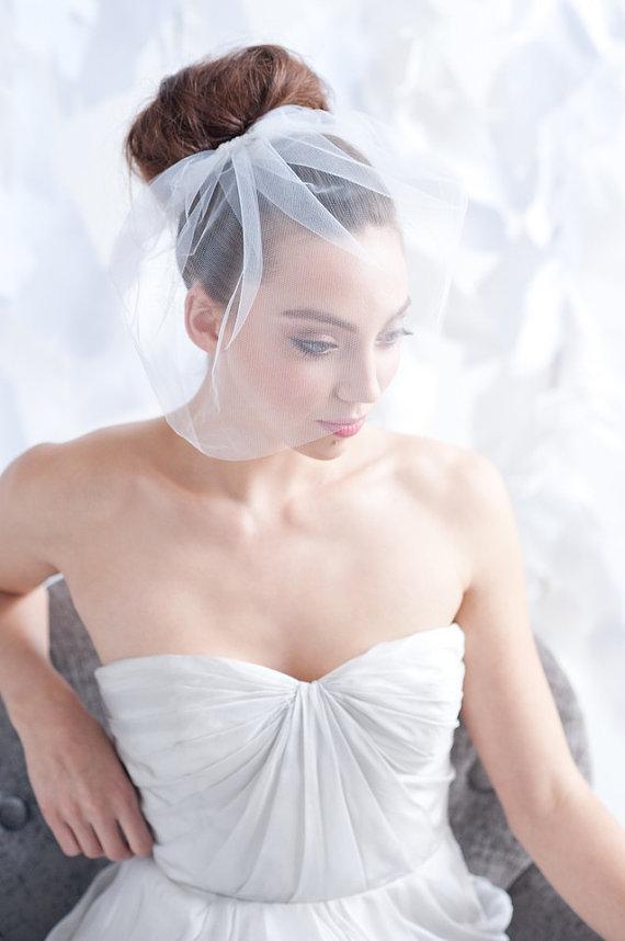 Wedding - Tulle birdcage veil, ivory tulle birdcage veil, birdcage veil, tulle veil, ivory veil, bridal ivory veil, simple ivory veil, wedding veil