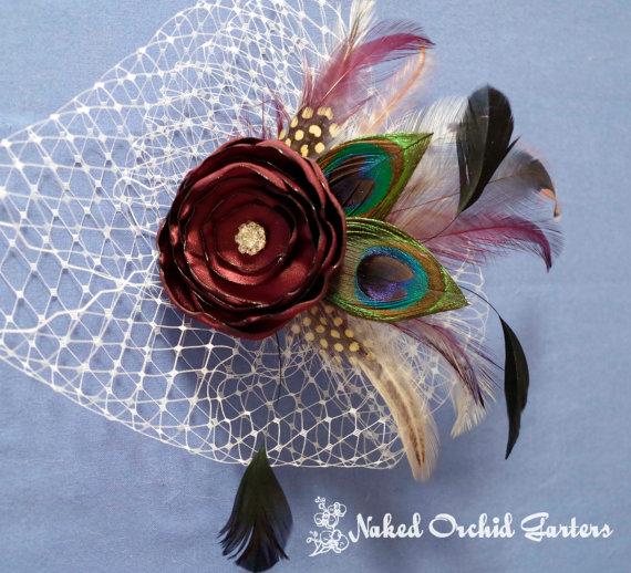 Mariage - Peacock Wedding Hair Fascinator, Maroon Rose Hair Piece, Red Wine / Cranberry Hair Accessory, Birdcage Veil, Bridal Head Piece
