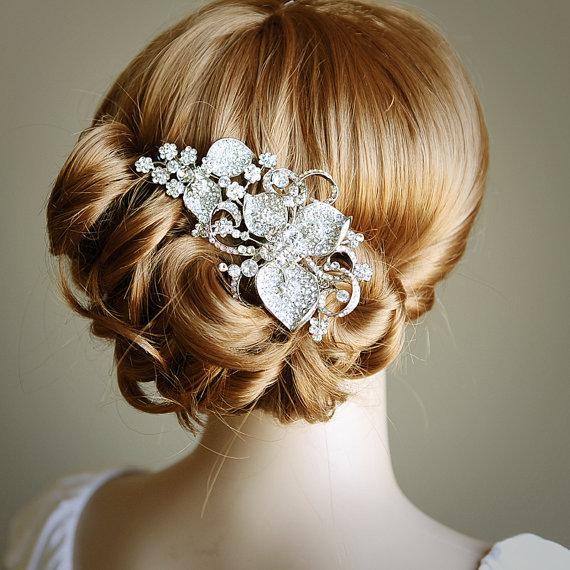 زفاف - STACIA, Eye-Catching LARGE Rhinestone Flower Bridal Hair Comb, Art Deco Wedding Hair Accessory, Vintage Inspired Wedding Crystal Comb