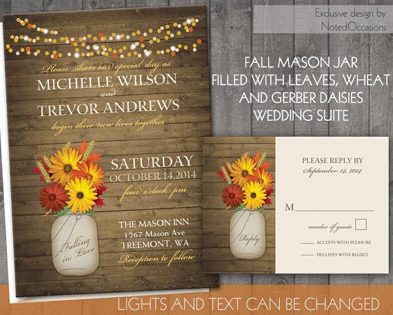 زفاف - Rustic Mason Jar Wedding Invitations- Fall Wedding Invitations