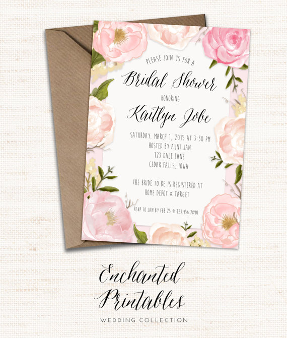 rustic spring bridal shower invitation printable spring bridal shower invite rustic pink peony floral invitation bridal shower invitation