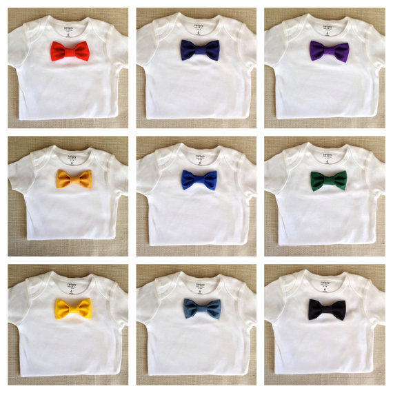 زفاف - Solid Colored Baby Bow Tie BodySuit and Snap-On Bowtie: 1 Bodysuit +1 Bowtie ONLY! Pick your Color! 20 Diff. Colors to Choose!
