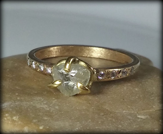 natural clear raw diamond ring engagement ring yellow