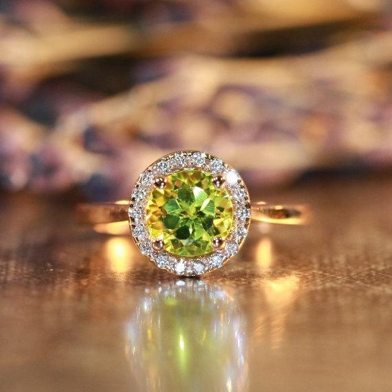 Natural Gemstone Peridot Engagement Ring In 14k Rose Gold Halo