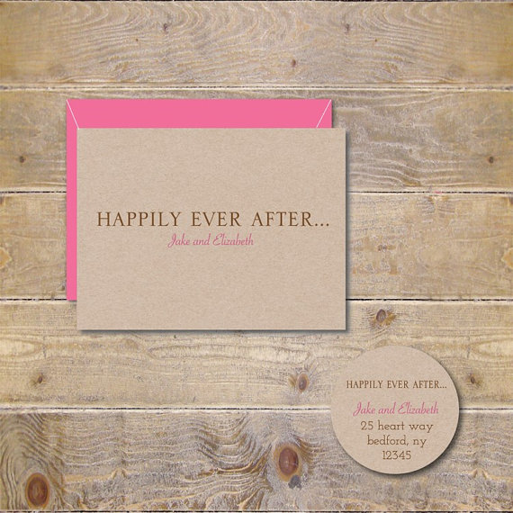 Happily Ever After Wedding Thank You Cards Fairytale Wedding Cards Rustic Wedding Bridal