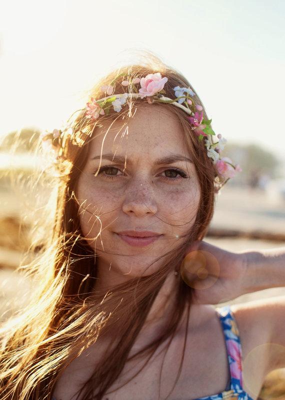 Bridal Hair Accessories Boho : Boho halo bridal hair accessories beach wedding cottage chic silk