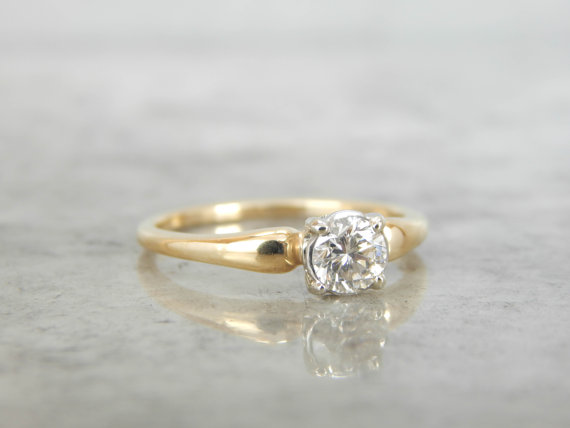 Simple And Sweet Gold Diamond Engagement Ring Vintage 1950s Mid