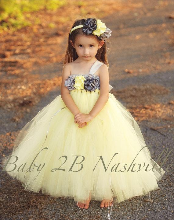 Mariage - Wedding Flower Girl Dress   Flower Girl Dress in Yellow and Gunmetal Baby - size 10 Girls
