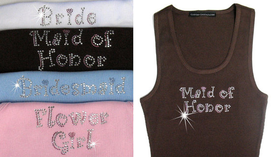Mariage - Curlz Bling with Hearts Rhinestone Bride Tank Top in Colors - Rhinestone Bridesmaid Tank Tops