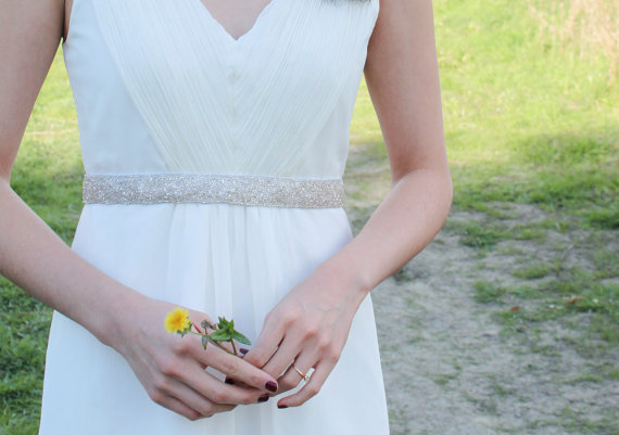 Свадьба - DAKOTA - Beaded Silver Bridal Sash, Wedding Belt