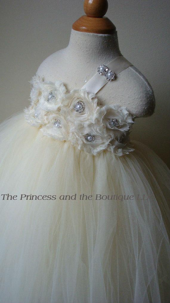 Wedding - Ivory flower girl dress with ivory chiffon flowers. Tutu dress