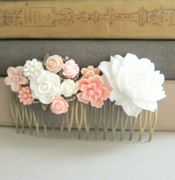 Свадьба - Pink Hair Comb Bridal Wedding Bride Floral Flower Blush Tea Rose White Bird Ivory Soft Cream Pastel Romantic Bridesmaid Maid of Honor Gift