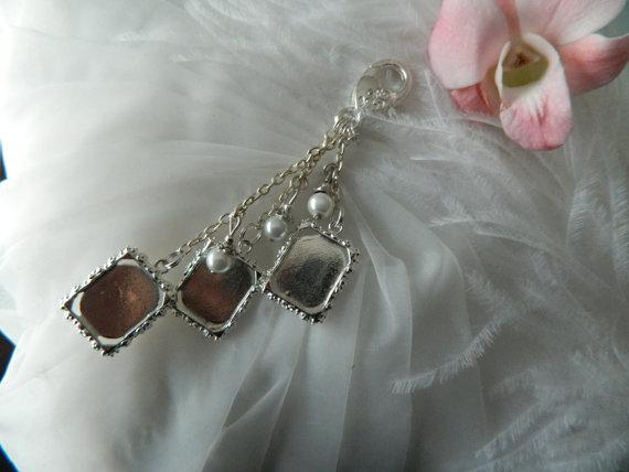 زفاف - Photo Bouquet charm -Three Photo charms - Pearls themed -Keepsake Boxed