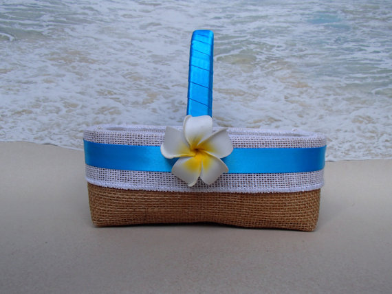 Mariage - CLOSEOUT* Honolulu Basket & Pillow in Turquoise- Flower Girl Basket Ring Bearer Pillow - Hawaiian Beach TropcialTurquoise - Beach - Burlap -