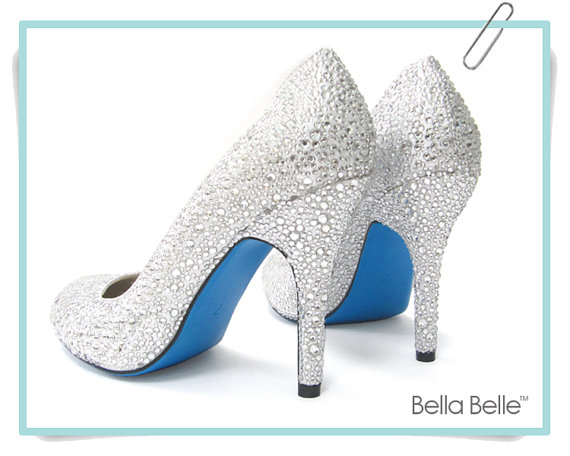 Crystal Encrusted Silver White Bridal Wedding Pumps Shoes With Something Blue  Sole