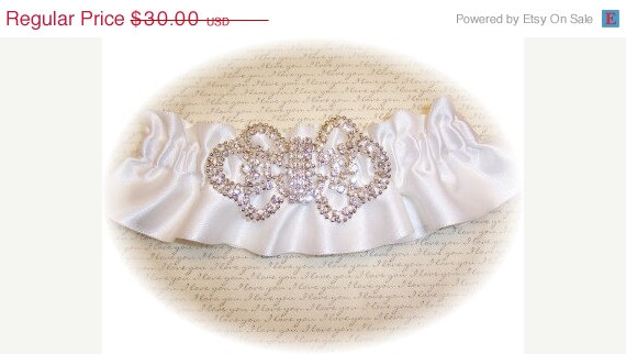 زفاف - ON SALE White Satin Wedding Garter - bridal lingerie RB 494